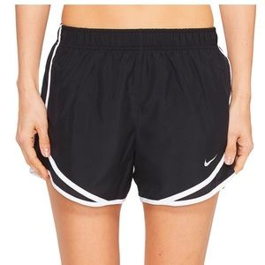 Nike white and black tempo running shorts